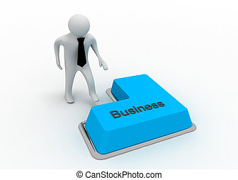 3d, homem, com, botão, negócio