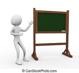 3d, homem, com, chalkboard