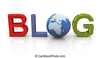 3d, homem, com, coloridos, blog