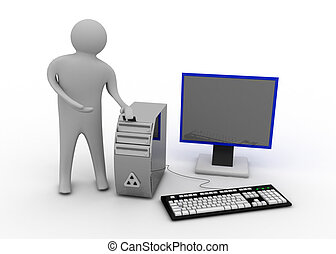3d, homem, com, computador