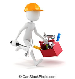 3d, homem, com, ferramentas, caixa, branco, fundo