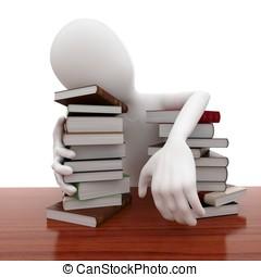 3d, homem, com, livros, dormir, cansadas