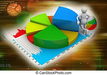 3d, homem, com, negócio, gráficos