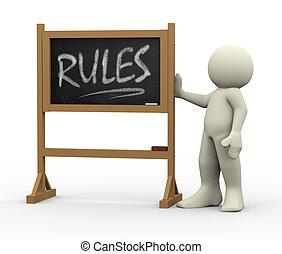 3d, homem, com, regras, escrito, quadro-negro