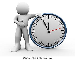 3d, homem, com, relógio
