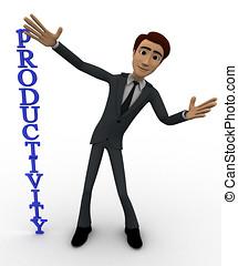 3d, homem, com, vertical, produtividade, conceito