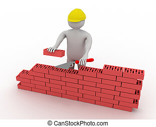 3d, homem, construir, um, parede vermelha tijolo