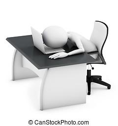 3d, homem dormindo, ligado, um, escrivaninha, com, laptop