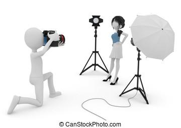 3d, homem, e, menina, foto estúdio, sessão