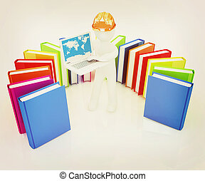 3d, homem, em, chapéu duro, trabalhar, seu, laptop, e, livros, ., 3d, illustration., vindima, style.