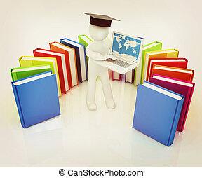 3d, homem, em, graduação, chapéu, trabalhar, seu, laptop, e, livros, ., 3d, illustration., vindima, style.