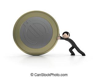 3d, homem, empurrar, um, moeda