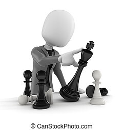 3d, homem, empurrar, um, xadrez, figura, -, conceito...