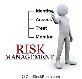 3d, homem, escrita, risco, gerência