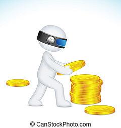3d, homem, fazer, pilha, de, dólar