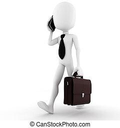 3d, homem, homem negócio, falando, em, seu, novo, esperto,...