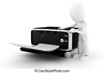 3d, homem, imprimindo, algum, documentos