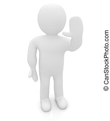3d, homem, isolado, ligado, white., series:, human, emoções,...