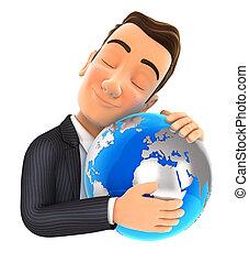 3d, homem negócios, abraçando, terra