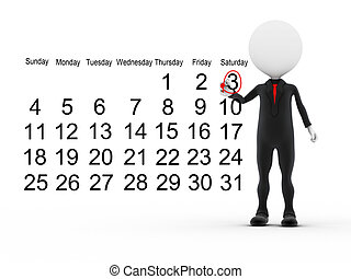 3d, homem negócios, com, ocupado, calendário, programa