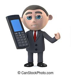 3d, homem negócios, conversa, ligado, seu, cellphone