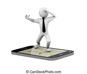 3d, homem negócios, ligado, gps, mapa, móvel