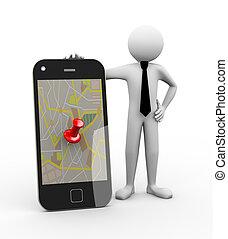 3d, homem negócios, -, móvel, com, gps, mapa