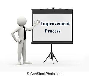 3d, homem negócios, -, melhoria, proces