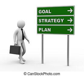 3d, homem negócios, meta, estratégia, plano, roadsign