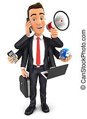 3d, homem negócios, multitasking