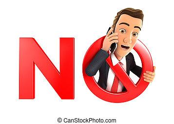3d, homem negócios, não, telefone, conceito
