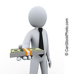 3d, homem negócios, oferecendo, dinheiro
