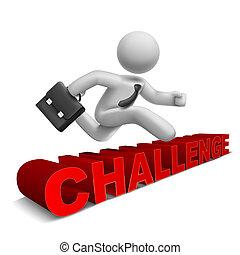 3d, homem negócios, pular, 'challenge', palavra