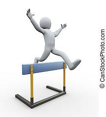 3d, homem, obstáculo, salto