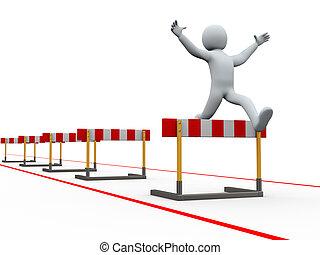 3d, homem, obstáculos, pista, pular