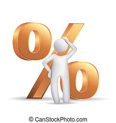 3d, homem, pensando, com, um, cento, símbolo
