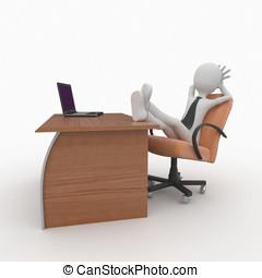 3d, homem, saliência, em, escritório