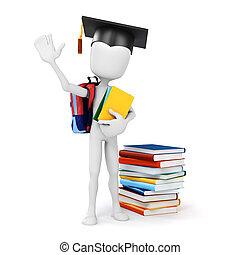 3d, homem, segurando, algum, livros, educação