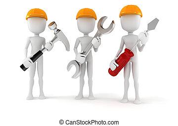 3d, homem, segurando, ferramentas, branco, fundo