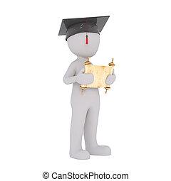 3d, homem, segurando, seu, diploma, em, graduação