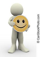 3d, homem, segurando, sorrizo