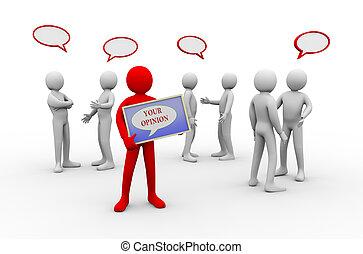 3d, homem, seu, opinião, -, pessoas, discussão