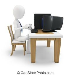 3d, homem trabalha computador