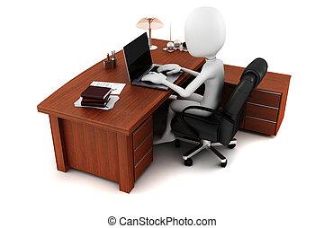 3d, homem, trabalhar, seu, escrivaninha
