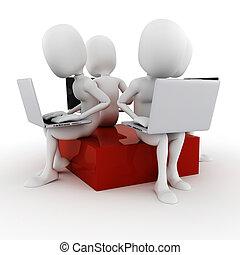 3d, homem, trabalhar, seu, laptop
