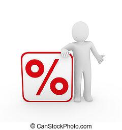 3d, homem, venda, porcentagem, vermelho