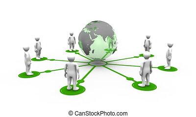 3d, homens, ligado, para, um, planeta, globo
