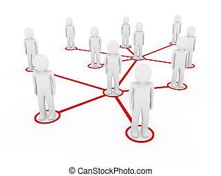 3d, homens, rede, social, vermelho