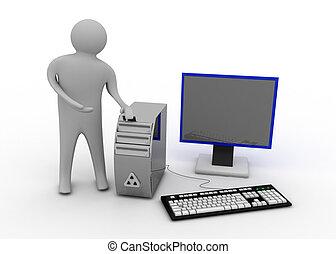 3d, homme, à, informatique