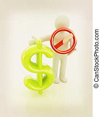 3d, homme, à, prohibition, signe, et, dollar., 3d, illustration., vendange, style.